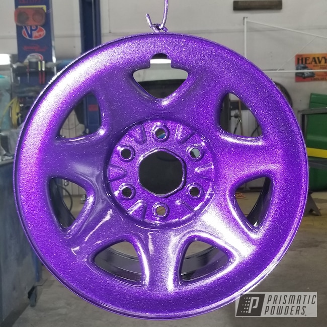 Powder Coating: SUPER CHROME USS-4482,Rims,VIOLET SPARKLE UPB-5233