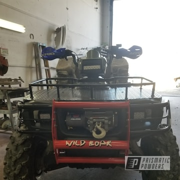 Atv Brush Guard Powder Coated In Ink Black And Racer Red