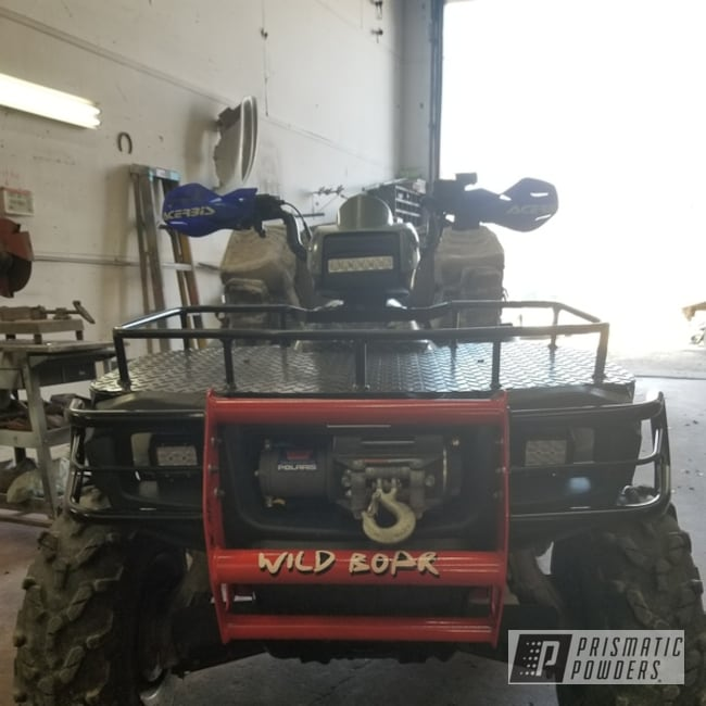 Powder Coating: Racer Red PSS-5649,Off Road,ATV,Front Bumper/Grille Guard,Ink Black PSS-0106,Powder Coated ATV Brush Guard