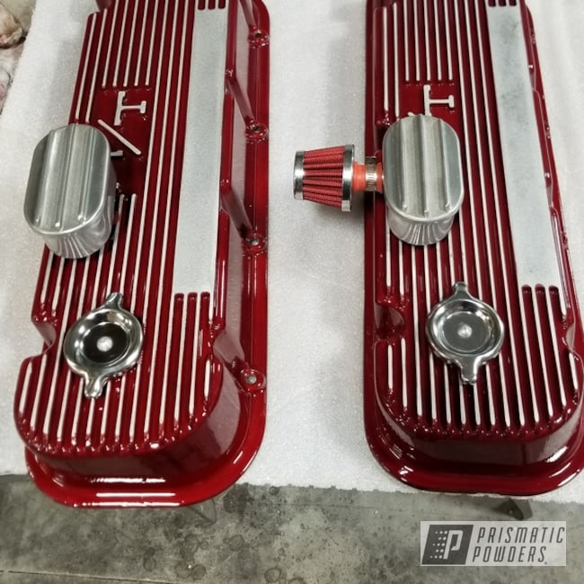 Powder Coating: Powder Coated Valve Covers,Clear Vision PPS-2974,Lollypop Red UPS-1506