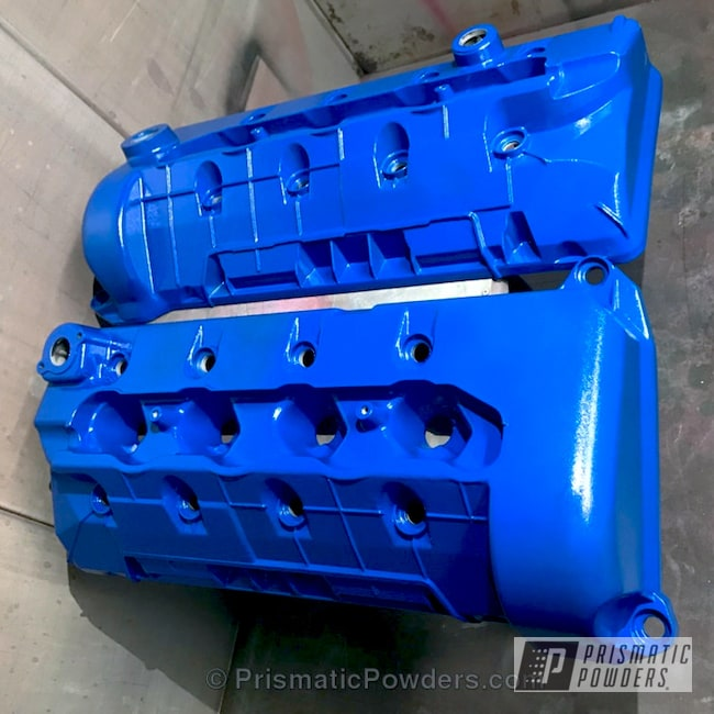Powder Coating: Single Powder Application,Custom Engine Covers,Automotive,Feather Blue River PRB-6114,Solid Tone,Mustang Head Cover,Powder Coated Engine Covers