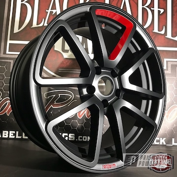 Custom Two Tone Wheels Coated In Black Jack And Very Red