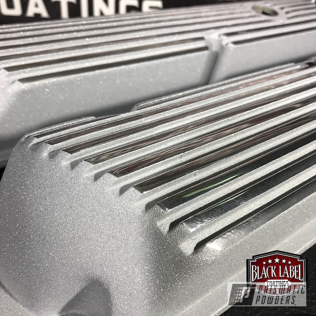 Powder Coating: Automotive,Valve Covers,Ultra Silver Texture PTB-4883,Vintage Ford Finned Valve Covers,Two Tone Wheels,Ford