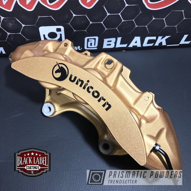 Powder Coating: Clear Vision PPS-2974,Brembo Calipers,Three Coat,Tomic Gold II EMB-4448,Custom Brake Calipers