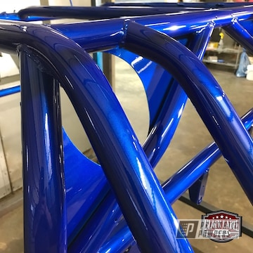 Off-road Rzr Cage Coated In Illusion Blue-berg And Clear Vision