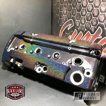 Custom Valve Cover Featuring City Lights And Clear Vision Over A Dark Base Coat