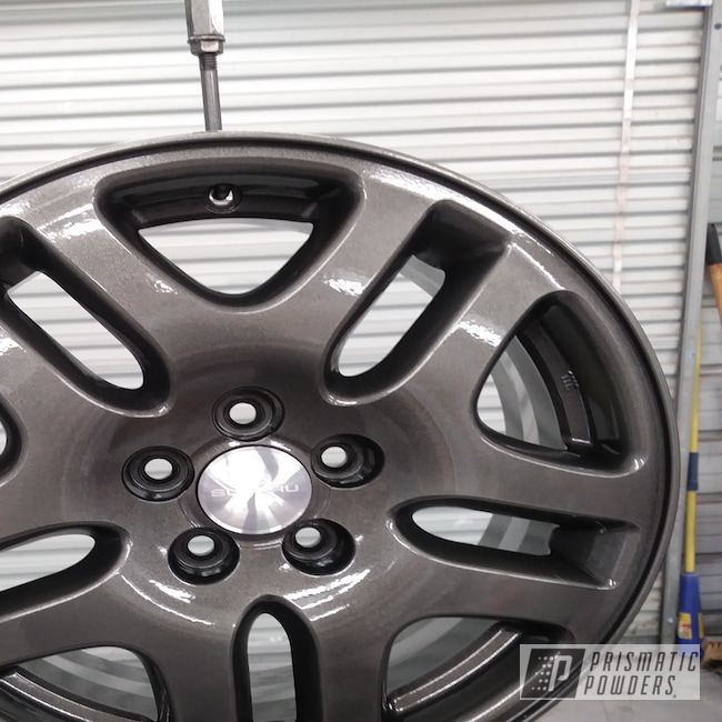 Powder Coating: Wheels,Automotive,Clear Vision PPS-2974,Subaru Wagon Wheels,STEALTH CHARCOAL PMB-6547