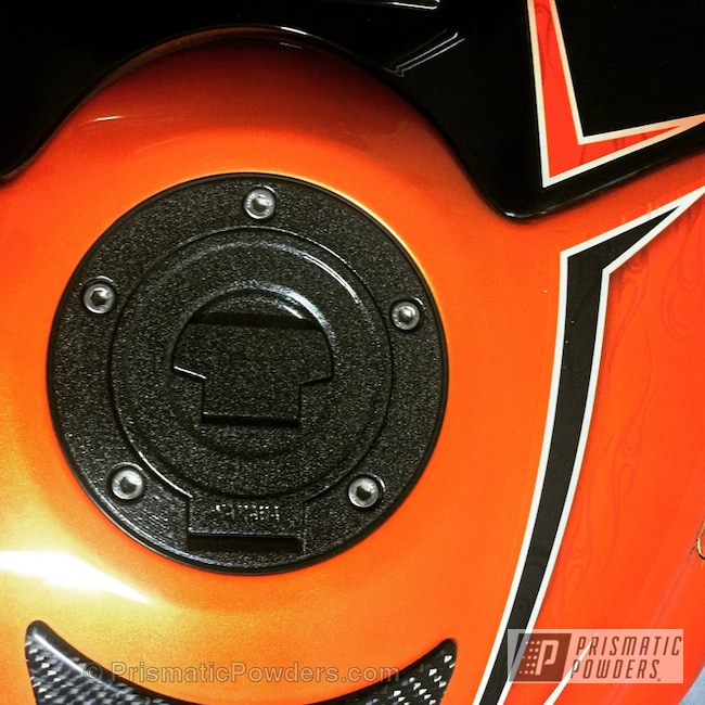 Powder Coating: Yamaha R6 Gas Cap,COSMIC CLEAR UPB-2465,Clear Coat Used,Flatter Black ESS-4441,Motorcycles,Solid Tone,Miscellaneous