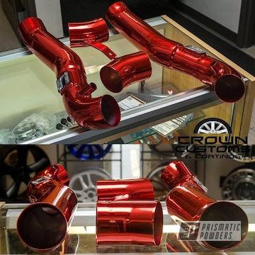 Intake Pipes Coated In Super Chrome Base With Lollypop Red Top Coat