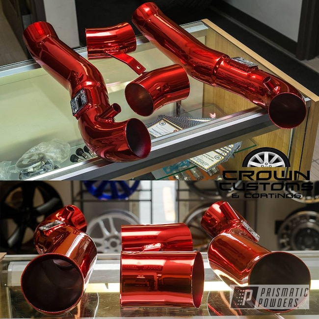 Powder Coating: Automotive,SUPER CHROME USS-4482,LOLLYPOP RED UPS-1506,Intake Pipe