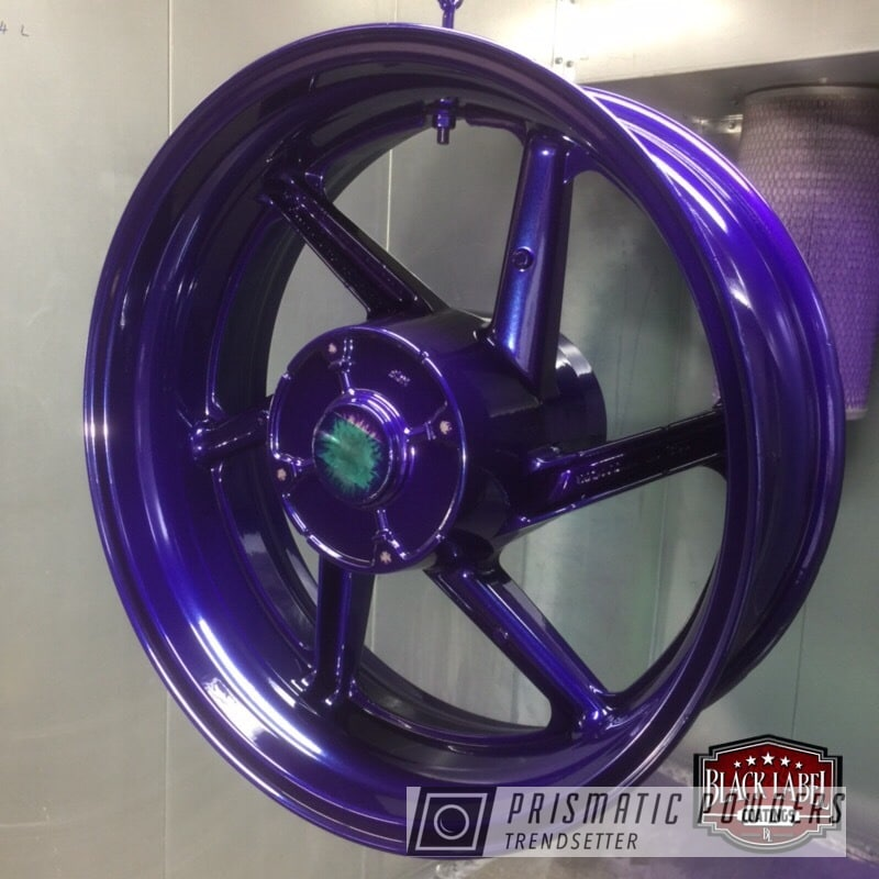 Honda Motorcycle Wheel Coated In Majestic Purple Over Super Chrome