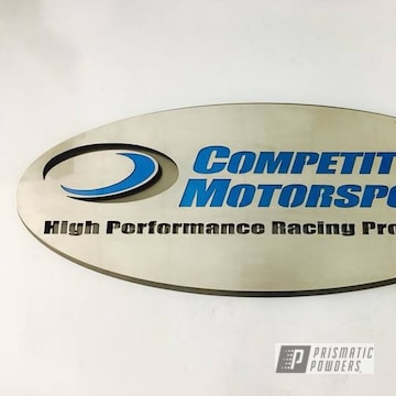 Stainless Steel Custom Cnc Plasma Cut Sign In Anodized Blue, Black Chrome Ii And Clear Vision