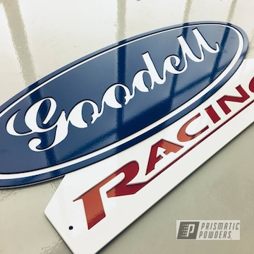 Custom Cnc Plasma Cut Sign Coated In Ford Dark Blue, Polar White And Astatic Red