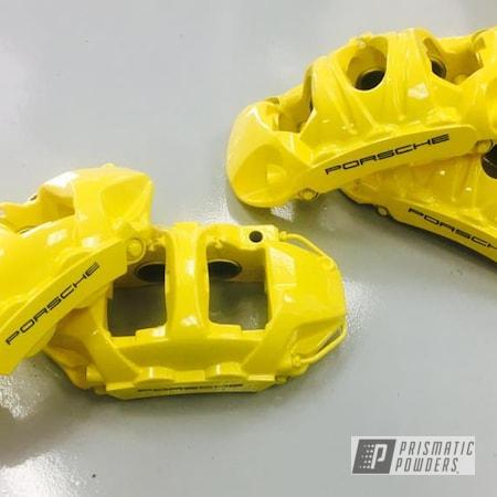 Powder Coating: Custom,Calipers,Clear Vision PPS-2974,Ink Black PSS-0106,Porsche,Caliper,RAL 1018 ZincYellow,Brake