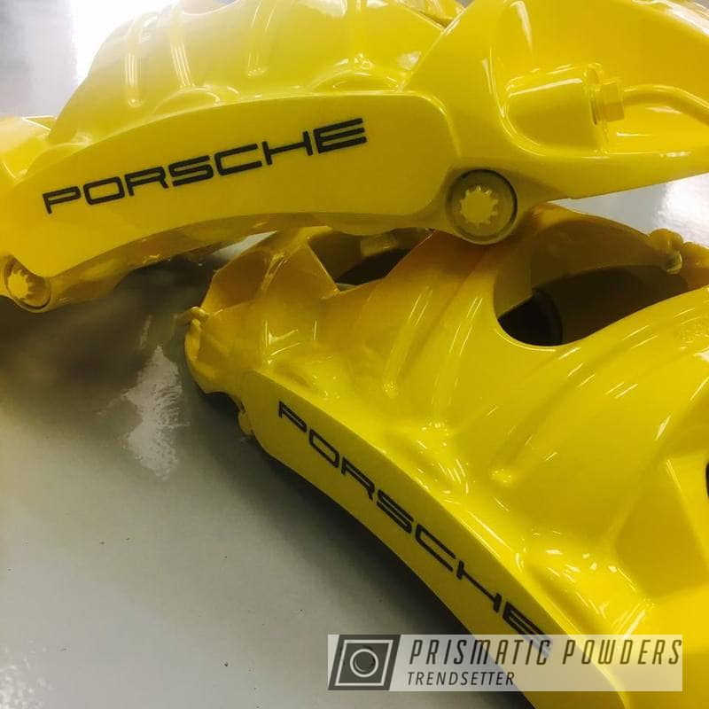 Powder Coating: Custom,Calipers,Clear Vision PPS-2974,Ink Black PSS-0106,Porsche,Caliper,RAL 1018 RAL-1018,Brake