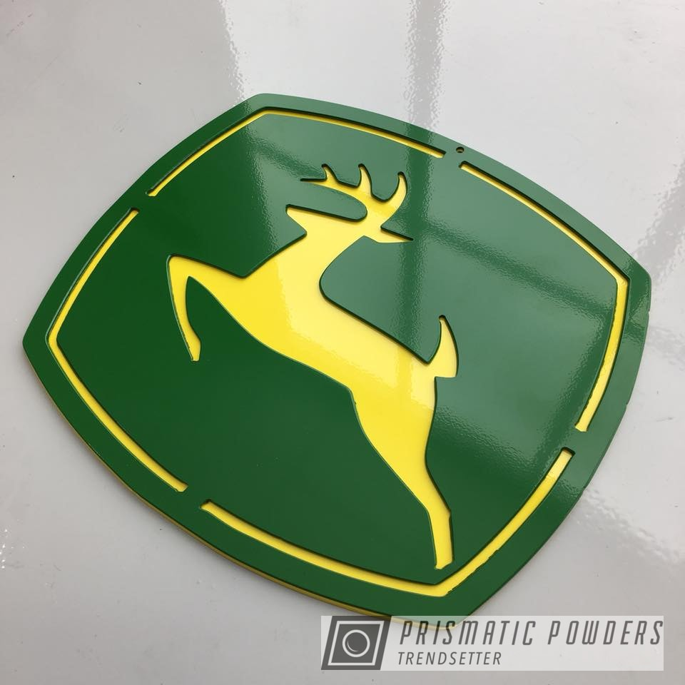 Powder Coating: Tractor Green PSS-4517,Sign,Metal,RAL 1018 RAL-1018,green,John Deere