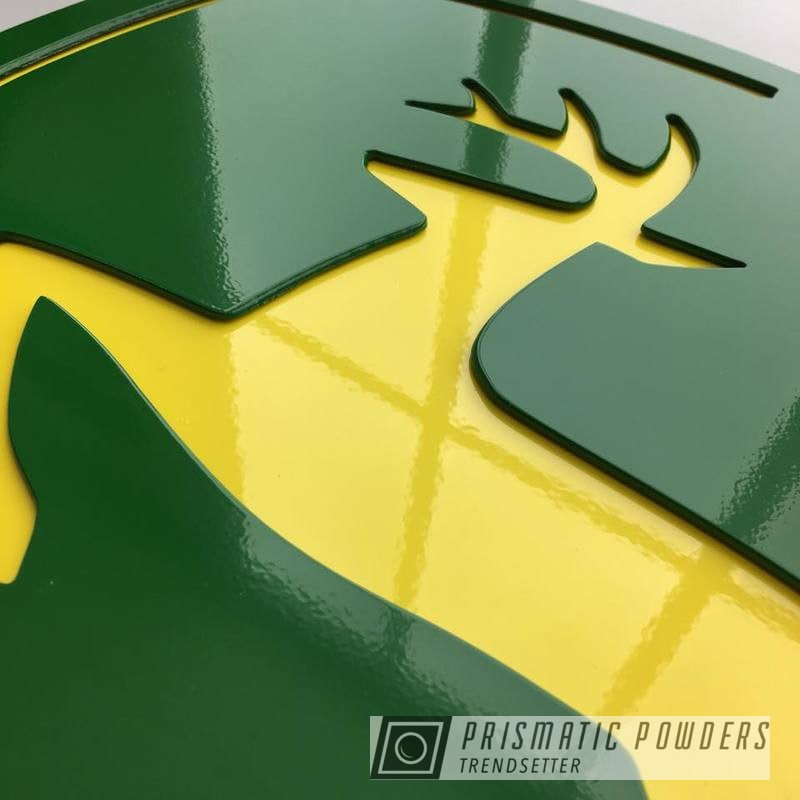 Custom Cnc Plasma Cut Sign Finished In Tractor Green And Ral 1018 A Classic Zinc Yellow Color