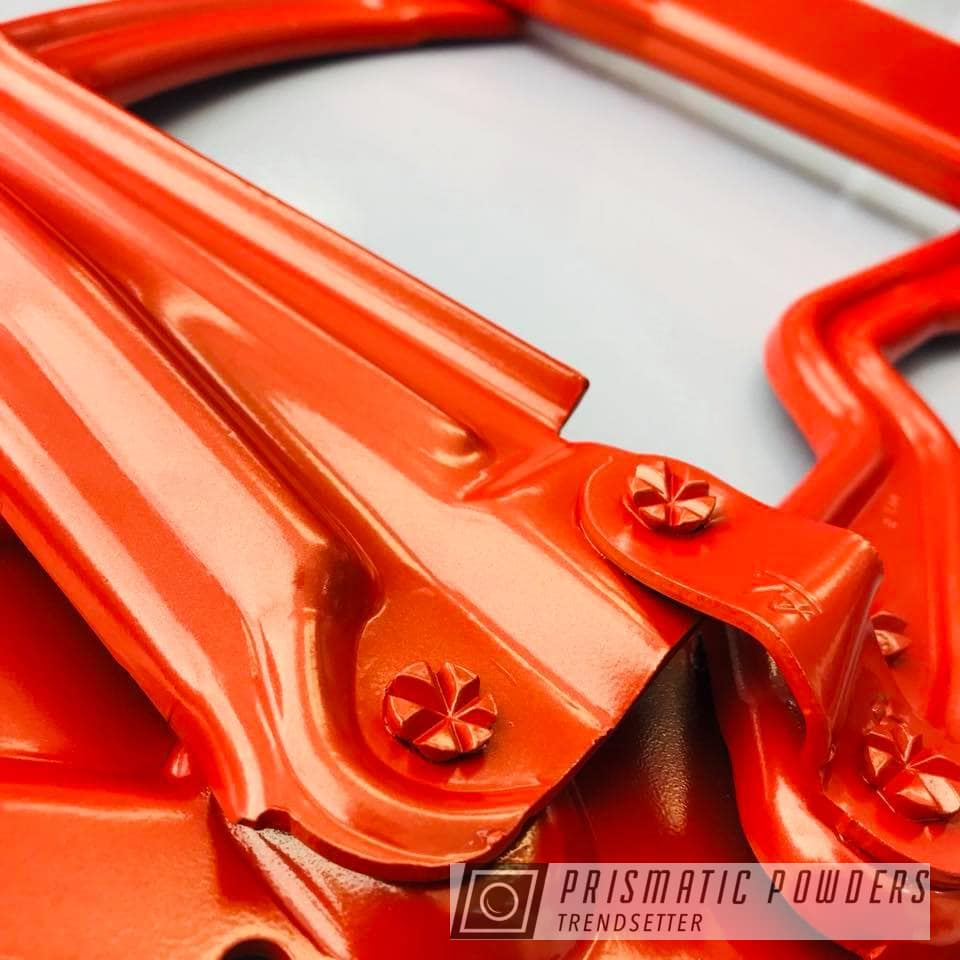 Powder Coating: Automotive,Hinges,Hood,Fire Orange PMB-6463,Powder Coated Hood Hinges