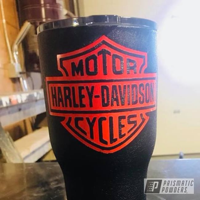 Powder Coating: Tumbler,RTIC,Harley Orange PMB-2829,Desert Nite Black PWS-2859