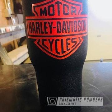 Custom Tumbler Coated In Harley Orange And Desert Nite Black