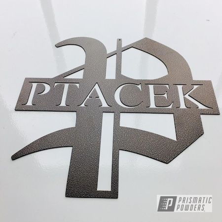 Powder Coating: Custom,Golden Vein PVB-5213,Monogram,Sign,Metal