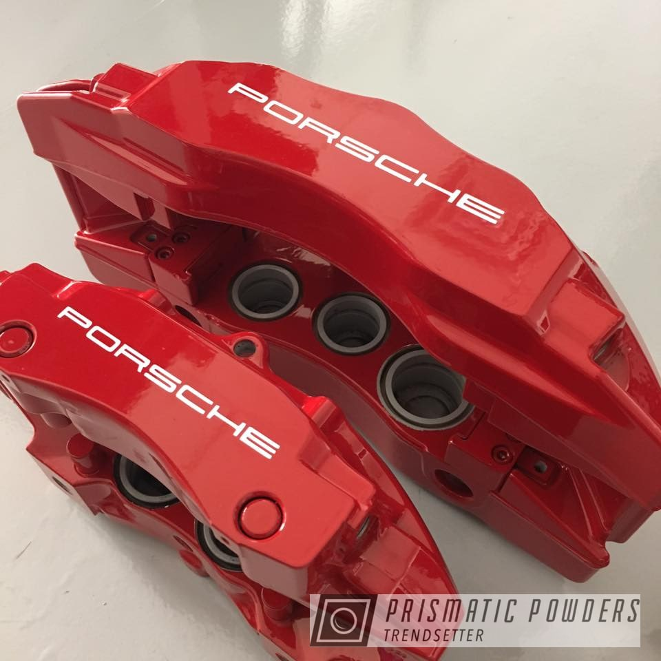 Powder Coating: Calipers,Polar White PSS-5053,Porsche,Brake,Astatic Red PSS-1738,Stoptech
