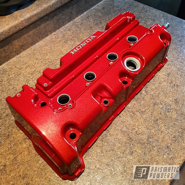 Powder Coating: Automotive,Clear Vision PPS-2974,Illusion Red PMS-4515,Valve Cover
