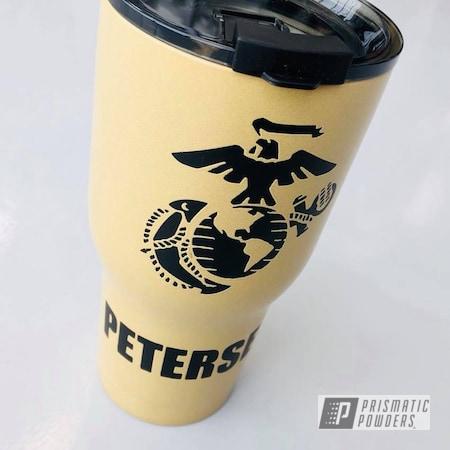 Powder Coating: DESERT LEATHER PSB-5698,Custom,Tumbler,BLACK JACK USS-1522,RTIC,Flag,USA,Marines,American