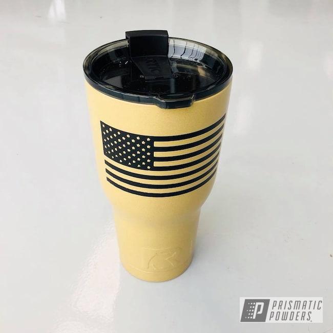 Powder Coating: Custom,Tumbler,RTIC,Flag,USA,Marines,Black Jack USS-1522,Desert Leather PSB-5698,American