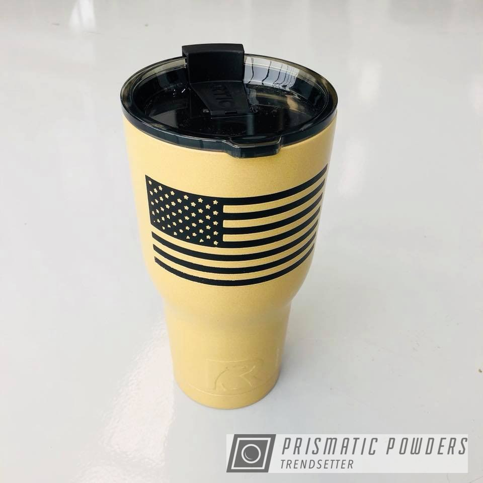Powder Coating: DESERT LEATHER PSB-5698,Custom,Tumbler,BLACK JACK USS-1522,RTIC,Flag,USA,Marines,American