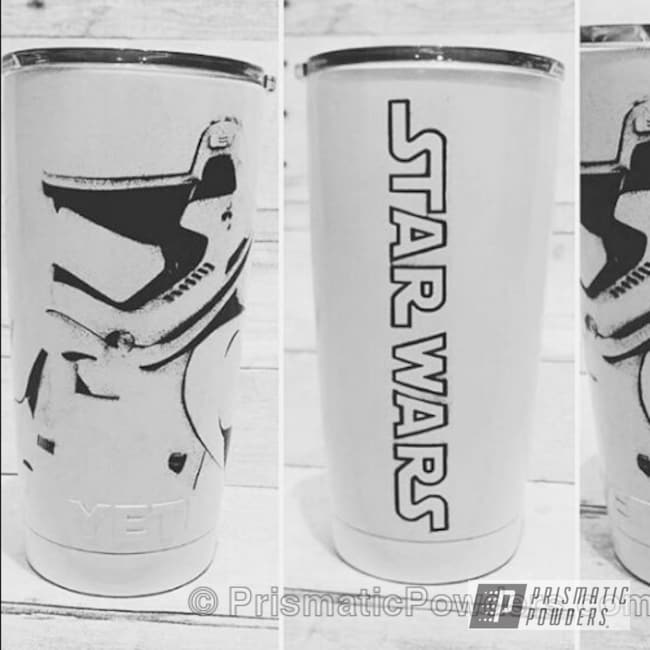 Powder Coating: Storm Trooper Yeti,Soft Satin White PSS-1353,Star Wars Theme,Ink Black PSS-0106,Art,Custom Cup
