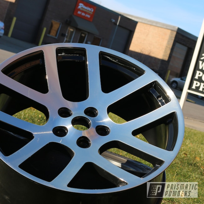 Powder Coating: Wheels,CNC,Diamond Cut,Ink Black PSS-0106,Gloss Black,26