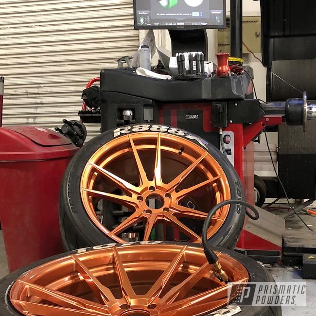 Powder Coating: Illusion True Copper PMB-10044,Wheels,Automotive,Clear Vision PPS-2974,Copper Wheels