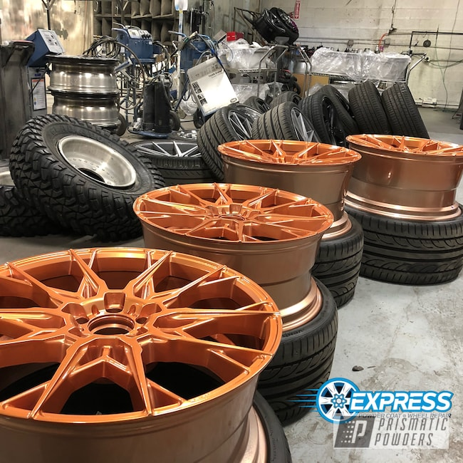 Powder Coating: Illusion True Copper PMB-10044,Wheels,Automotive,Clear Vision PPS-2974,Copper Wheels