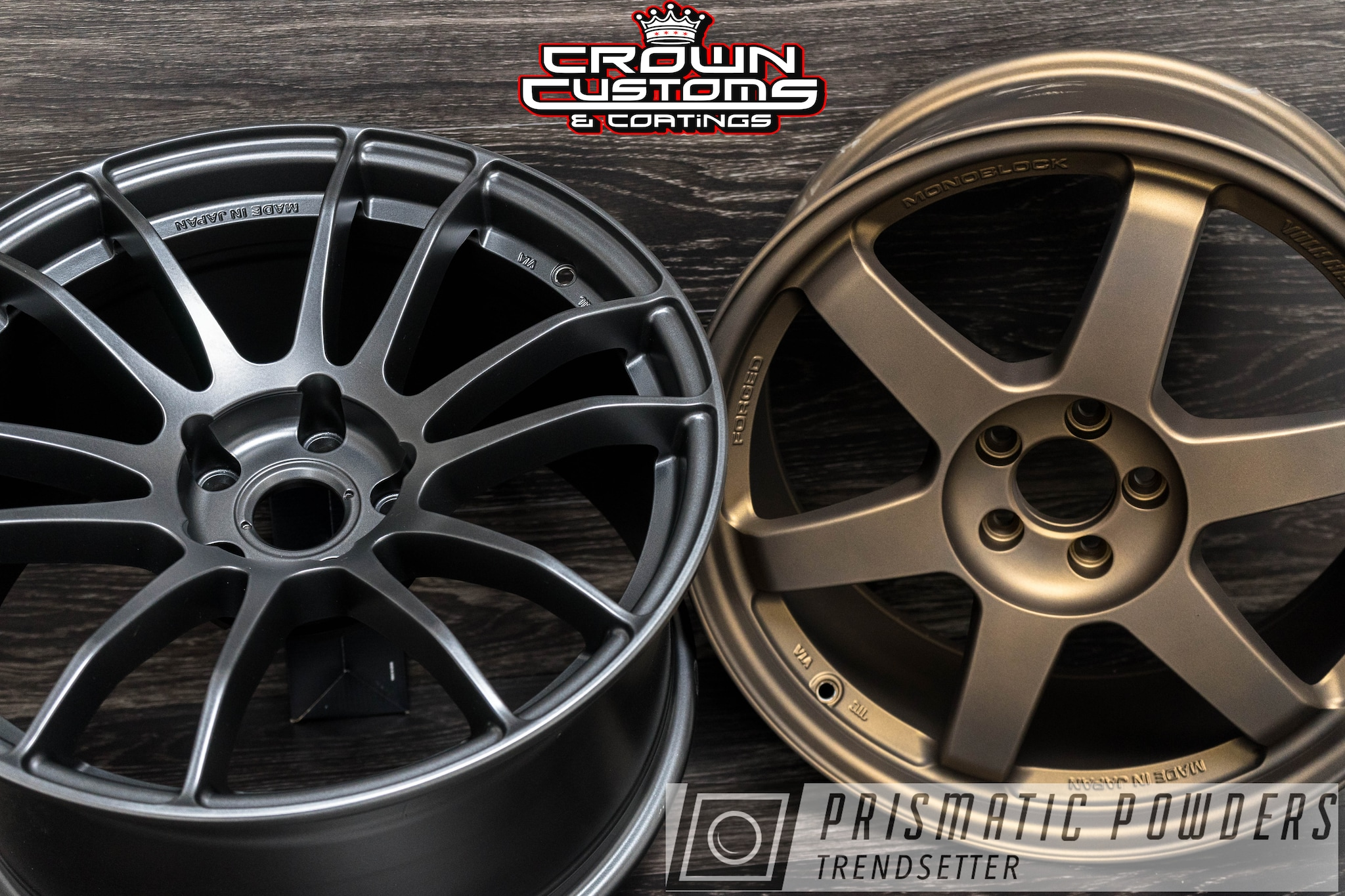 Powder Coating: Wheels,Automotive,Evo Grey PMB-5969,Bronze Chrome PMB-4124,Casper Clear PPS-4005