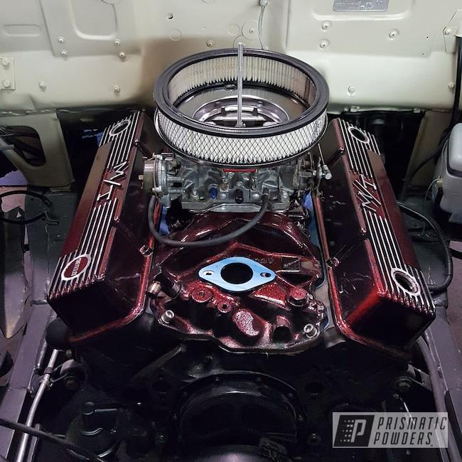 Powder Coating: Automotive,Powder Coated Engine Build,Disco Red PPB-7044,Ink Black PSS-0106,Custom Engine,Valve Covers and Intake,Pontiac