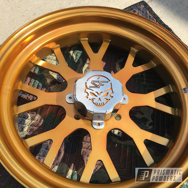 Powder Coating: Custom Rims,SUPER CHROME USS-4482,Custom Wheels,Powder Coated Rims,UTV,side by side,Powder Coated Wheels,Transparent Gold PPS-5139