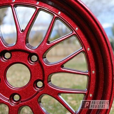 Powder Coating: Wheels,Custom,Kingsport Grey PMB-5027,RACING RED UPB-6379