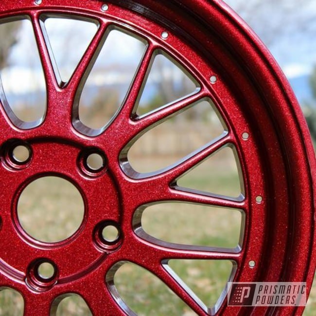Powder Coating: Wheels,Custom,Kingsport Grey PMB-5027,RACING RED UPB-6379