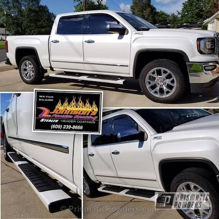 Powder Coating: Single Powder Application,Automotive,Custom Truck Parts,Pearl Frost PMB-3093,Step Sides