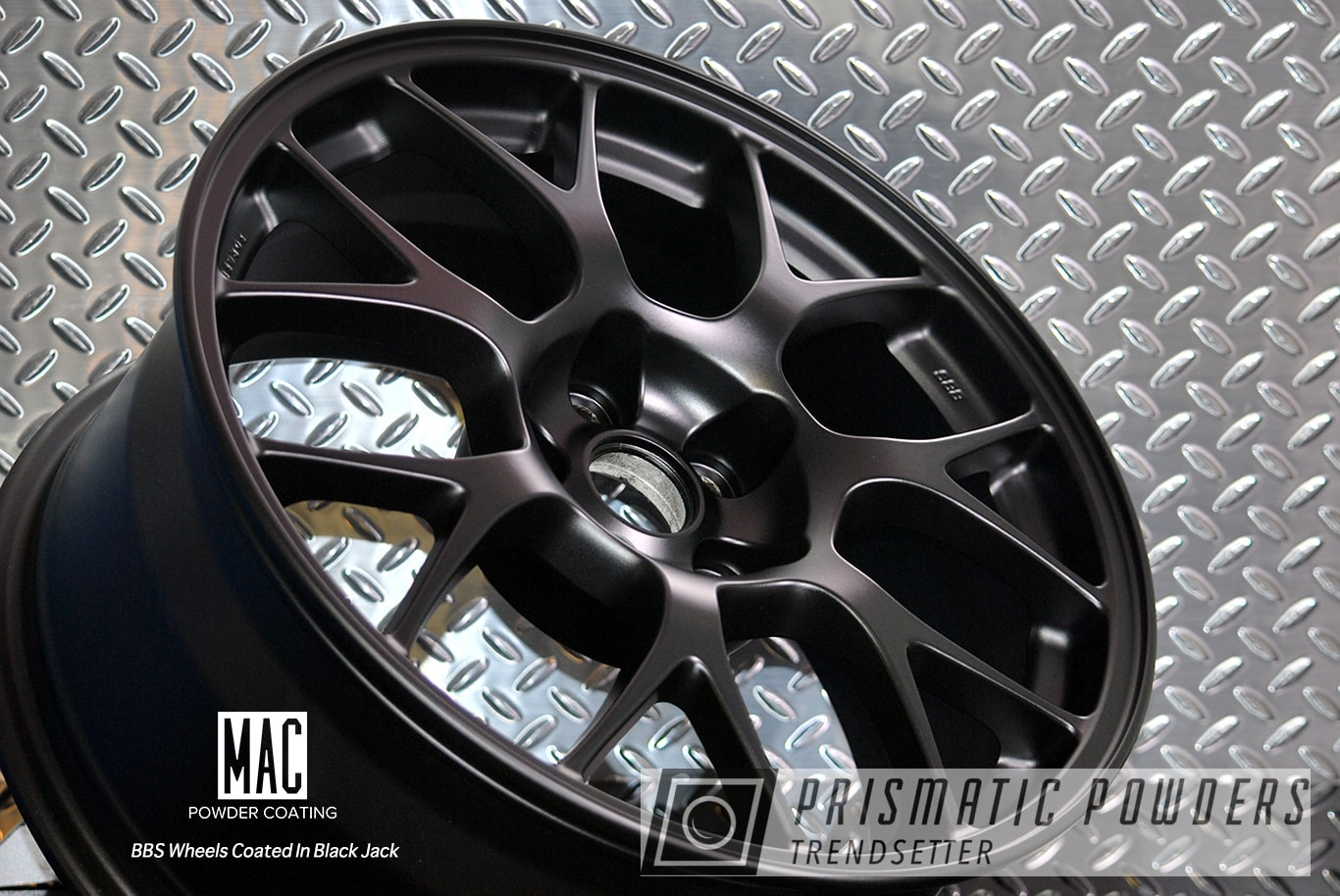 Powder Coating: Wheels,Automotive,BBS Wheels,Black Jack USS-1522,Flat Black Powder Coat