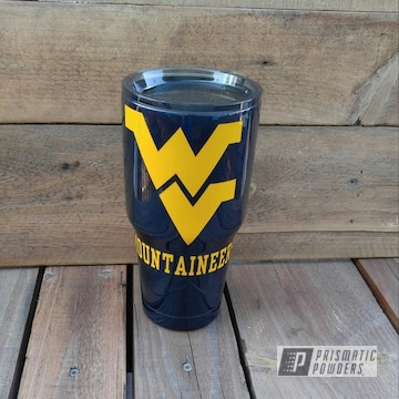 Tumbler Cup Coated In Misty Midnight And School Bus Yellow