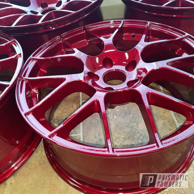 Powder Coating: Wheels,Clear Vision PPS-2974,Two Stage Application,Mercedes,Two Coat Application,Illusion Cherry PMB-6905