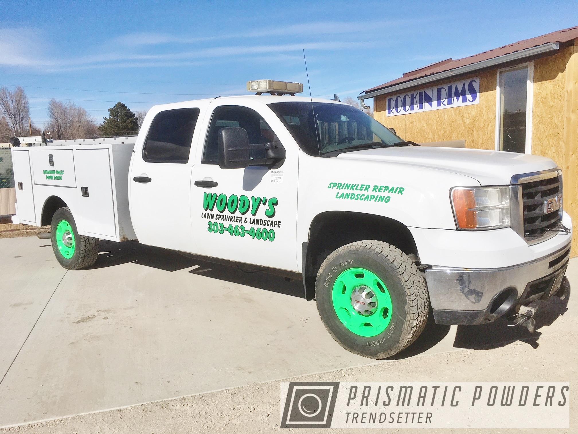 Powder Coating: Wheels,rockin rims,GMC Pickup Truck,Rims,Green,Applied Plastic Coatings,GMC,Neon Green PSS-1221