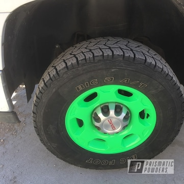 Truck Wheels Coated In Neon Green