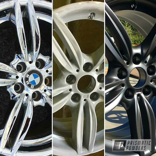 Powder Coating: rockin rims,Evo Grey PMB-5969,BMW Wheels,BMW,Applied Plastic Coatings,Before and After,Primer
