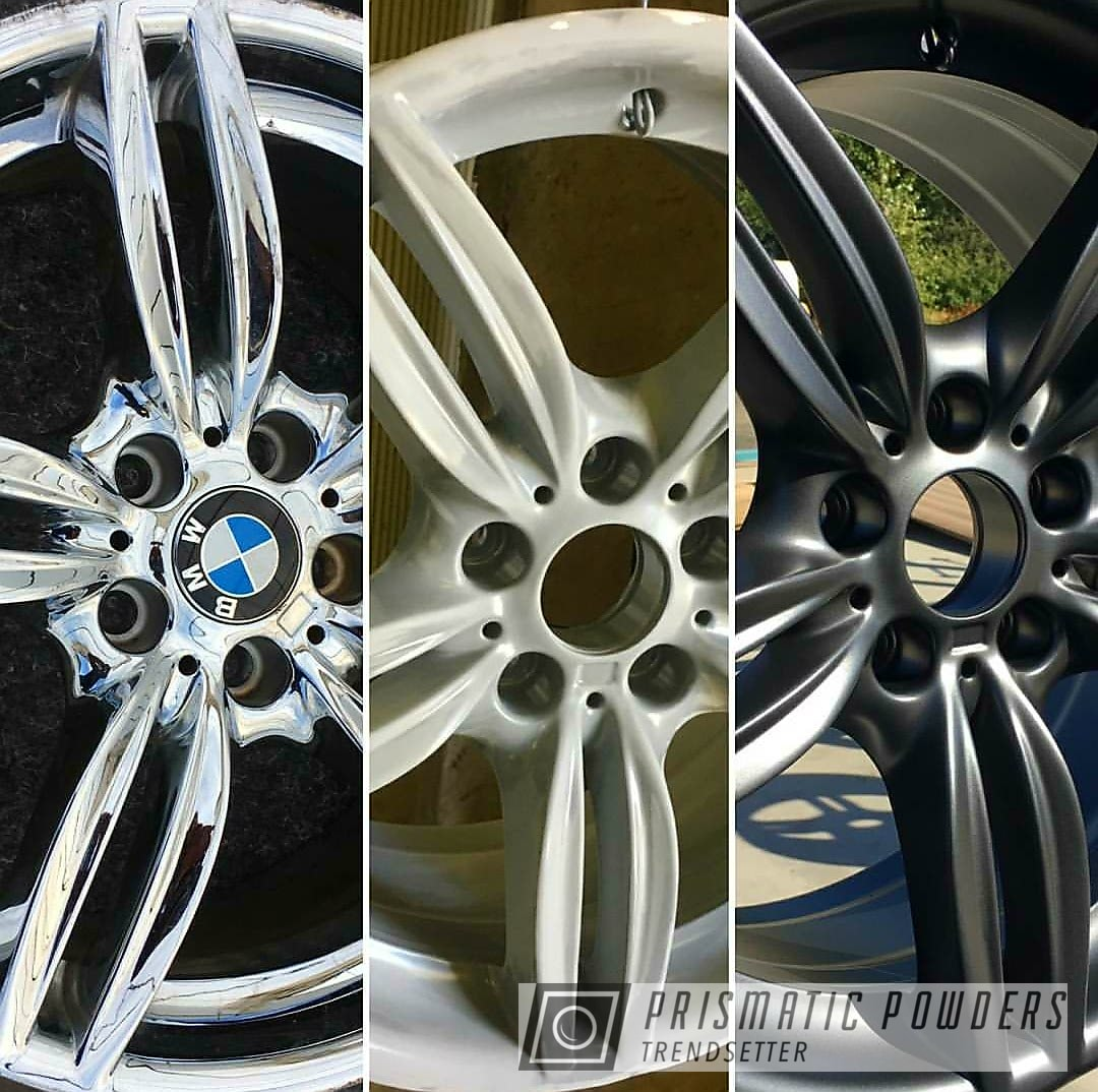 Powder Coating: rockin rims,Evo Grey PMB-5969,BMW Wheels,BMW,Applied Plastic Coatings,Before and After,Primer