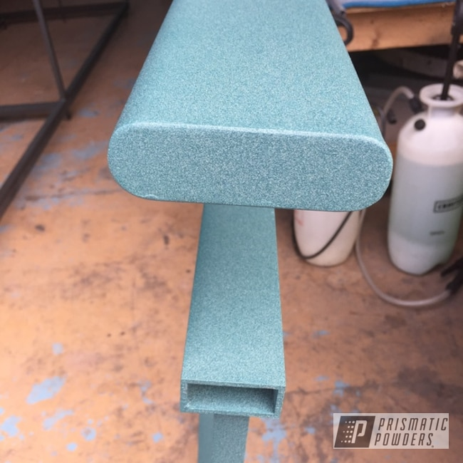 Commercial Railing Coated In Surf Green