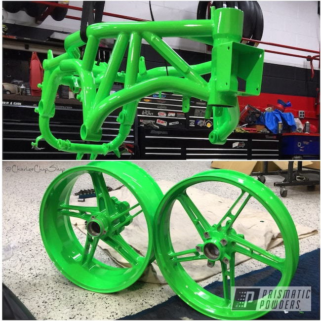 Powder Coating: Wheels,Two Stage Application,Motorcycle Frame,Motorcycles,Neon Green PSS-1221