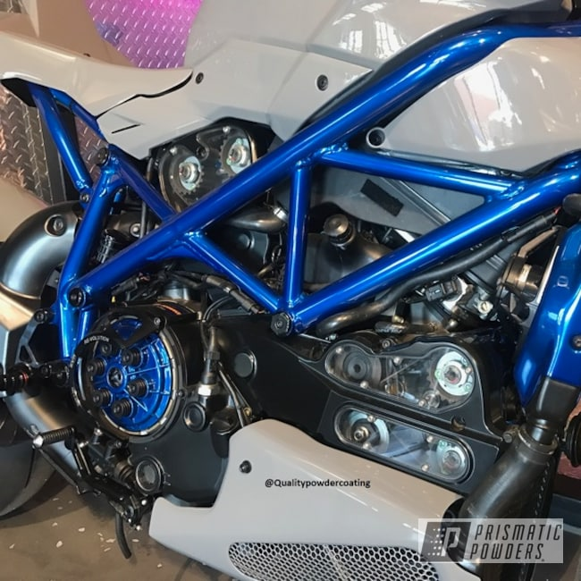 Powder Coating: Candyblue,SUPER CHROME USS-4482,Bike Frame,Peeka Blue PPS-4351